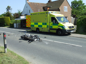 Wreckage of motorcycle